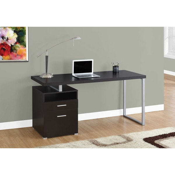 60 Inch Computer Desk With Cuccino And Silver Metal Finish