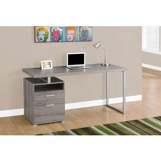 60-inch Dark Tape and Silver Metal Computer Desk