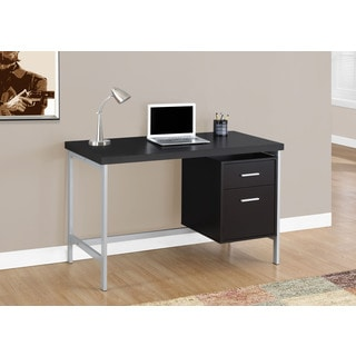 Cappuccino and Silver Metal 48-inch Computer Desk