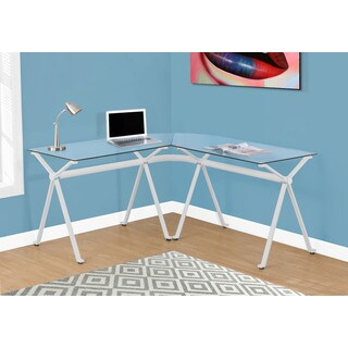 White Metal Tempered Glass Computer Desk