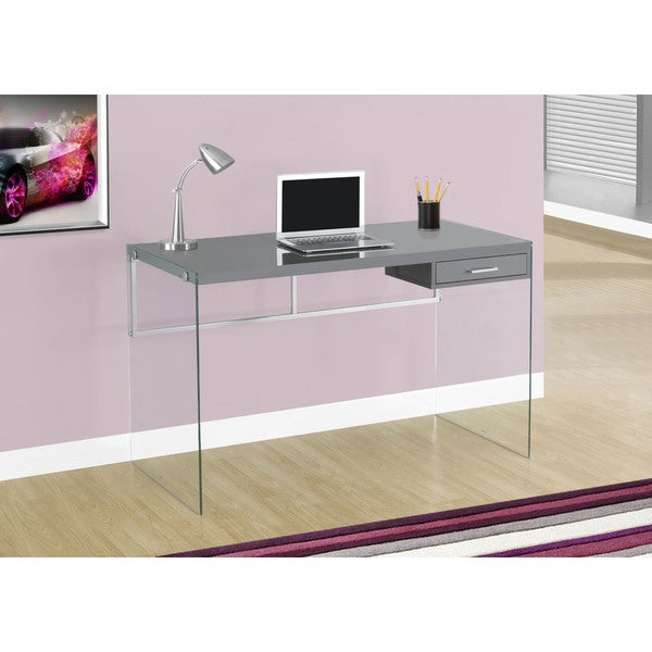 Glossy White Contemporary Clear Temper Glass Sleek Modern: Shop 48-inch Glossy Grey Computer Desk With Tempered Glass