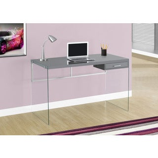 48-inch Glossy Grey Computer Desk With Tempered Glass