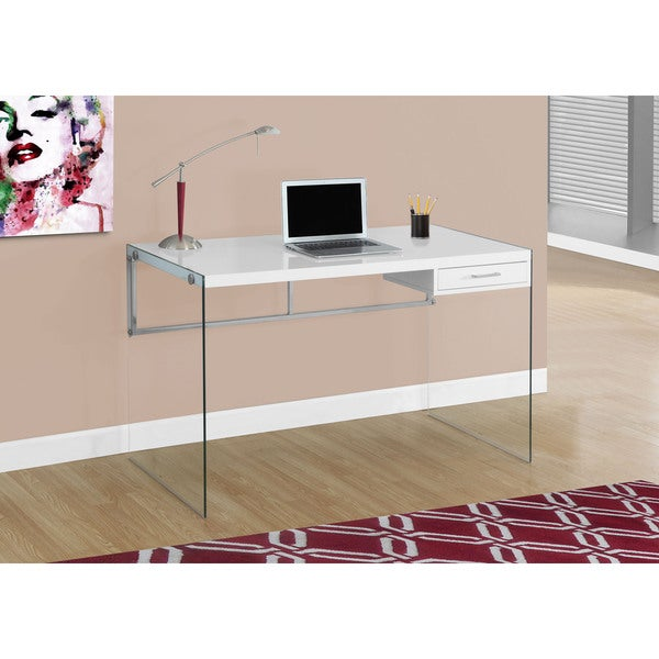 48 Inch Glossy White Computer Desk With Tempered Glass