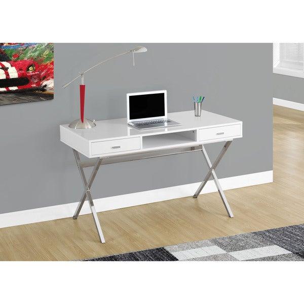 Attirant Silver Orchid Parker Glossy White And Chrome Metal 48 Inch Computer Desk