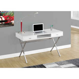 Glossy White and Chrome Metal 48-inch Computer Desk