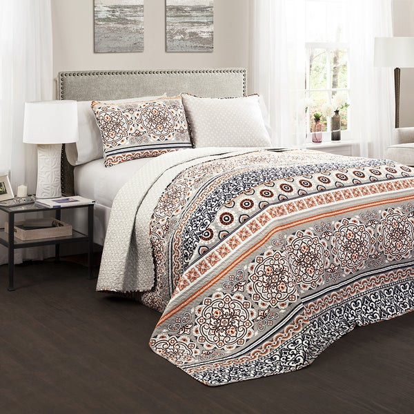Lush Decor Nesco 3-Piece King Size Quilt Set in Coral (As Is Item). Opens flyout.