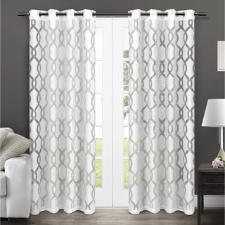ATI Home Rio Burnout Sheer Grommet Top Window Curtain Panel Pair
