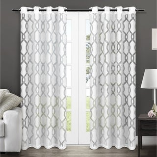 Rio Burnout Sheer Grommet Top Window Curtain Panels (Set of 2)