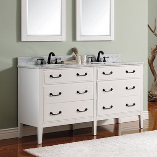 Avanity Delano 61-inch Double Sink White Vanity Combo