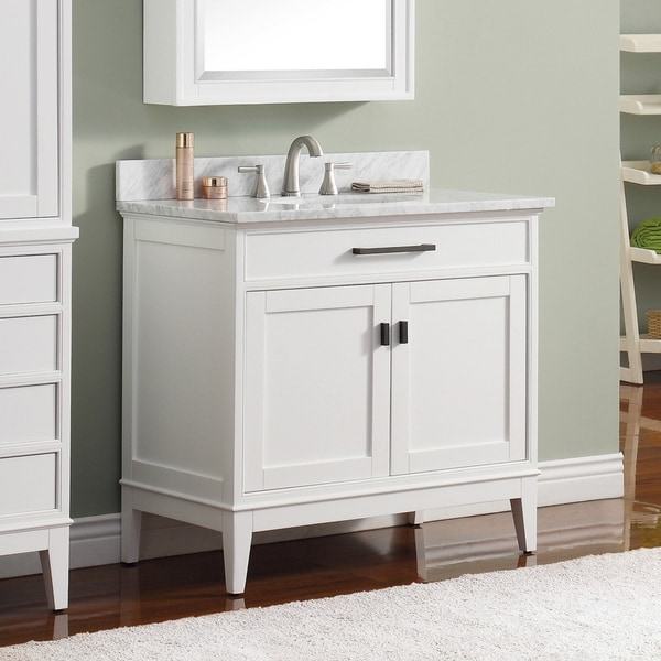 Shop Avanity Madison 37-inch White Vanity Combo with Top ...