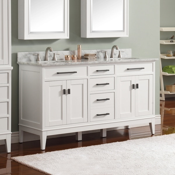 Avanity Madison 61-inch Double Sink Vanity Combo in White with Top and Sink