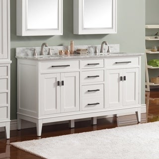 Avanity Madison 61-inch Double Sink White Finish Vanity Combo
