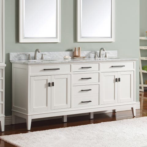 Avanity Madison 73-inch Double Sink Vanity Combo in White with Top and Sink