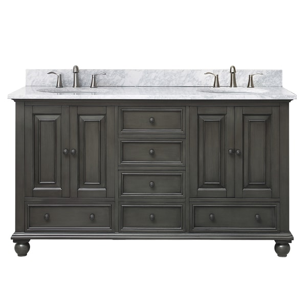 Shop avanity thompson 61 inch double sink vanity combo in charcoal glaze finish free shipping for 70 inch double bathroom vanity