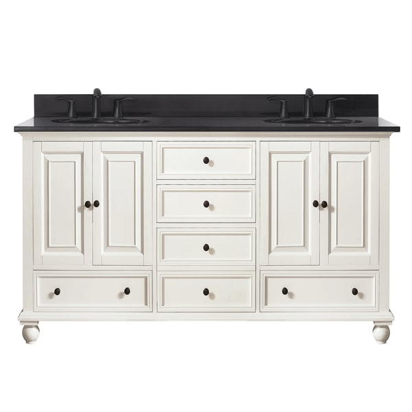 Avanity Thompson 61 Inch Double Sink Vanity Combo In French White Finish