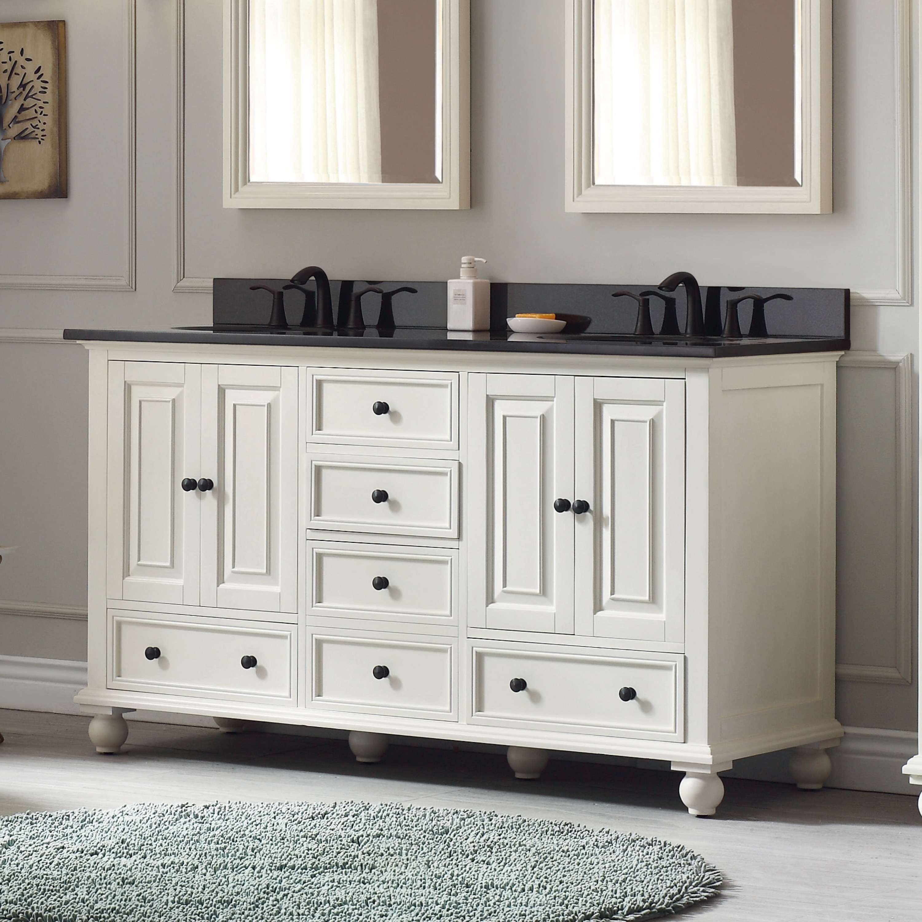 Avanity Thompson 61 Inch Double Sink Vanity Combo In French White Finish Overstock 10951080