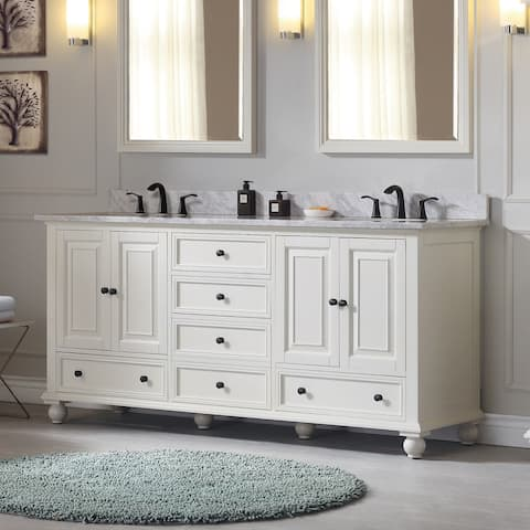 Avanity Thompson 73-inch Double Sink Vanity Combo in French White finish
