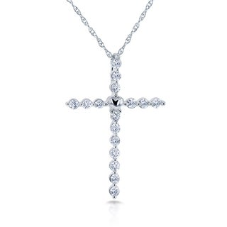Annello 10k White Gold 1/4ct TDW Diamond Cross and Heart Necklace (H-I, I2)