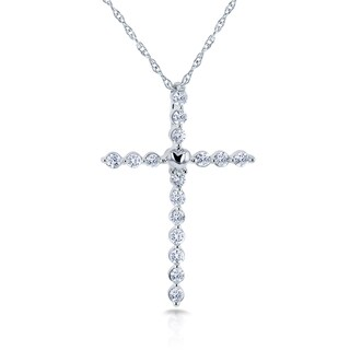 Annello by Kobelli 10k White Gold 1/4ct TDW Diamond Cross and Heart Necklace