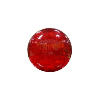 Red Crackled Glass Ball with LED Lights Small