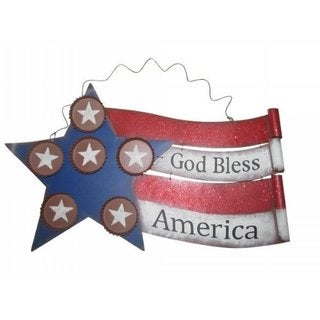 "American Flag Metal Wall Decor 20""L"