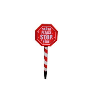"Solar ""Santa Please Stop Here"" Sign Garden Stake with White LED Lights"