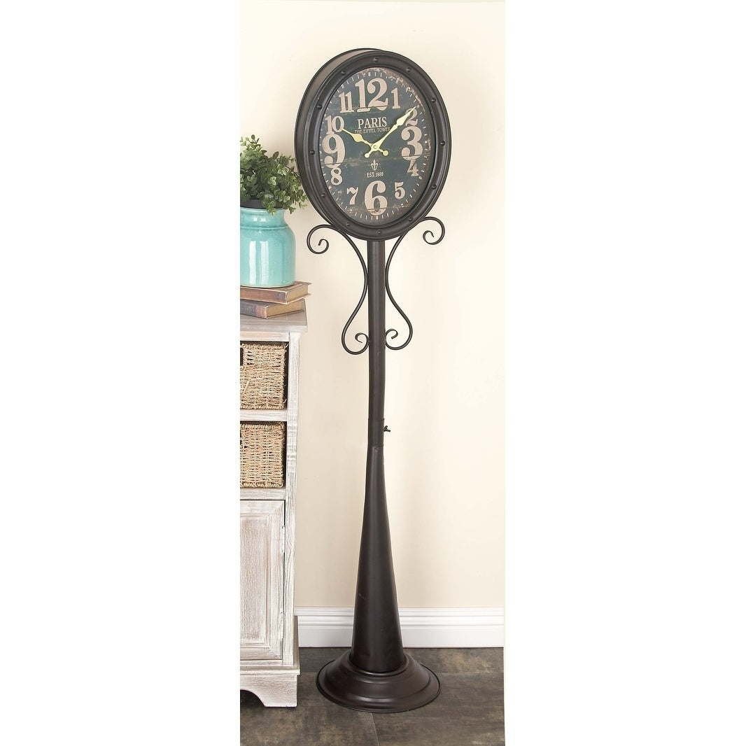 Shop Traditional 57 Inch Black Metal Vintage Floor Clock By Studio