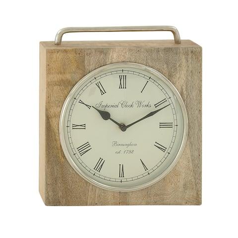 Copper Grove Artlish Wood Metal Table Clock