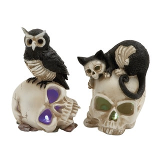 Benzara LED Skull and Animal Figurine (Set of Two)