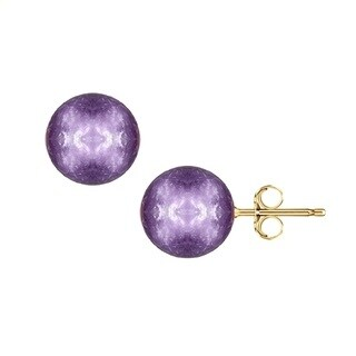 Pori Yellow Gold Amethyst Gemstone Ball Stud Earrings