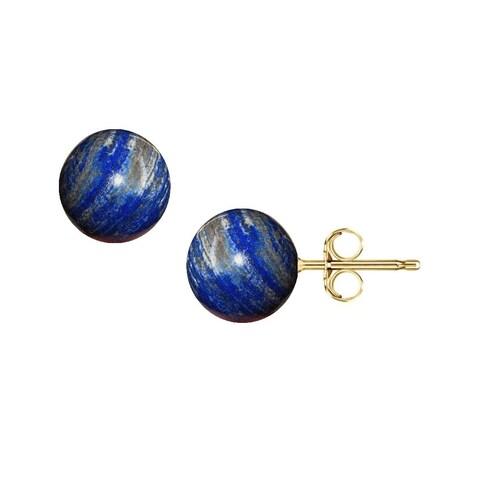 Pori Yellow Gold Lapis Gemstone Ball Stud Earrings
