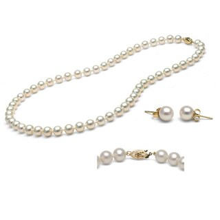 Pori Italian 14k Yellow Gold White Freshwater Pearl Necklace and Stud Earrings