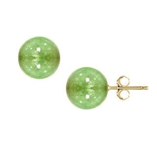 Pori 14k Yellow Gold Amazonite Gemstone Ball Stud Earrings