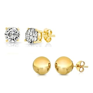 Pori 14k Yellow Gold Ball Stud and Round-cut Earrings
