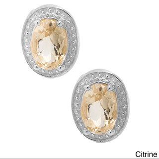 Pori 18k Goldplated Silver Oval Gemstone with Diamond Accent Stud Earrings