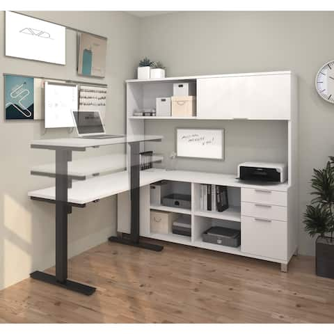 Bestar Pro-Linea L-Desk with Hutch including Electric Height Adjustable Table