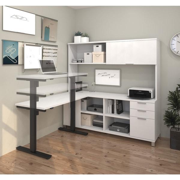 shop bestar pro linea l desk with hutch including electric height adjustable table free. Black Bedroom Furniture Sets. Home Design Ideas