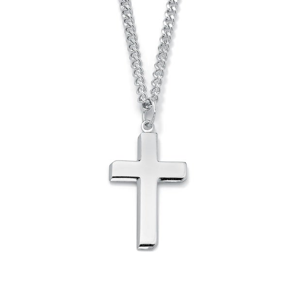 Shop sterling silver mens cross pendant necklace free shipping sterling silver menx27s cross pendant necklace aloadofball Images