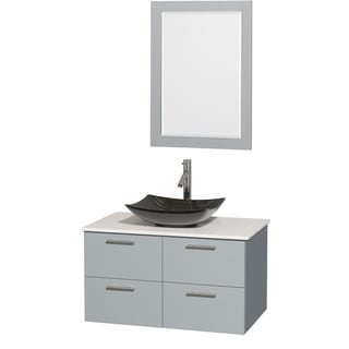 Wyndham Collection Amare Dove Grey White Man-made Stone Top 36-inch Single Vanity with 24-inch Mirror