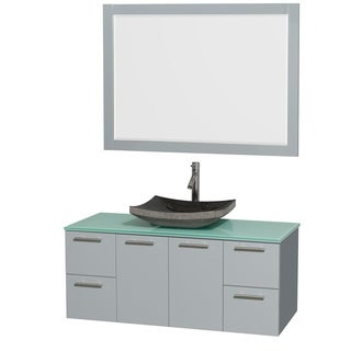 Wyndham Collection Amare Dove Grey Green Glass Top 48 Inch Single Vanity  With 46