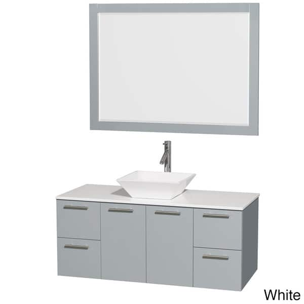 Wyndham Collection Amare Dove Grey White Man Made Stone Top 48 Inch Single Vanity With 46 Inch Mirror
