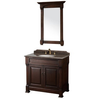 Wyndham Collection Andover Imperial Brown Granite Top Undermount Oval Sink 36-inch Single Vanity with 28-inch Mirror