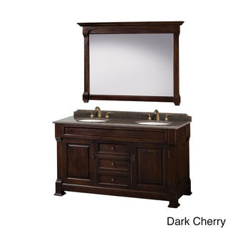 Wyndham Collection Andover Imperial Brown Granite Top Undermount Oval Sinks 60-inch Double Vanity with 56-inch Mirror (Brown)