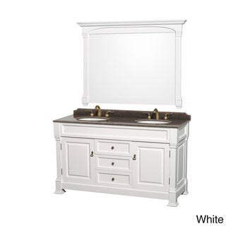 Wyndham Collection Andover Imperial Brown Granite Top Undermount Oval Sinks 60-inch Double Vanity with 56-inch Mirror (White)