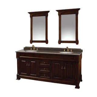 Wyndham Collection Andover Imperial Brown Granite Top Undermount Oval Sinks 72-inch Double Vanity with 28-inch Mirrors