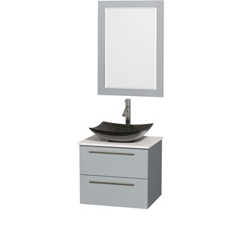 Wyndham Collection Amare Dove Grey White Man-made Stone Top 24-inch Single Vanity with 24-inch Mirror