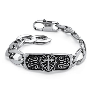 PalmBeach Men's Cross and Shield Bracelet