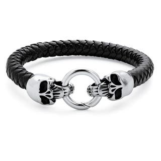 Men's Leather Skull Bracelet|https://ak1.ostkcdn.com/images/products/10951369/P17977617.jpg?impolicy=medium