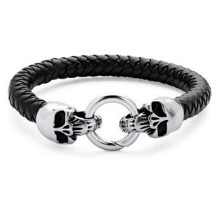 Men's Leather Skull Bracelet