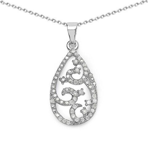 Olivia Leone Sterling Silver 3/5ct TDW White Diamond Teardrop Pendant